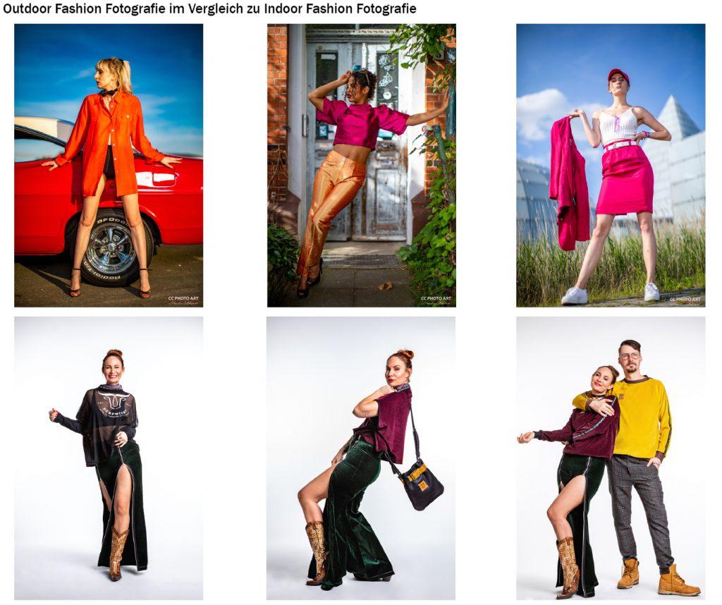 Vergleich Indoor vs Outdoor Fashion Shooting